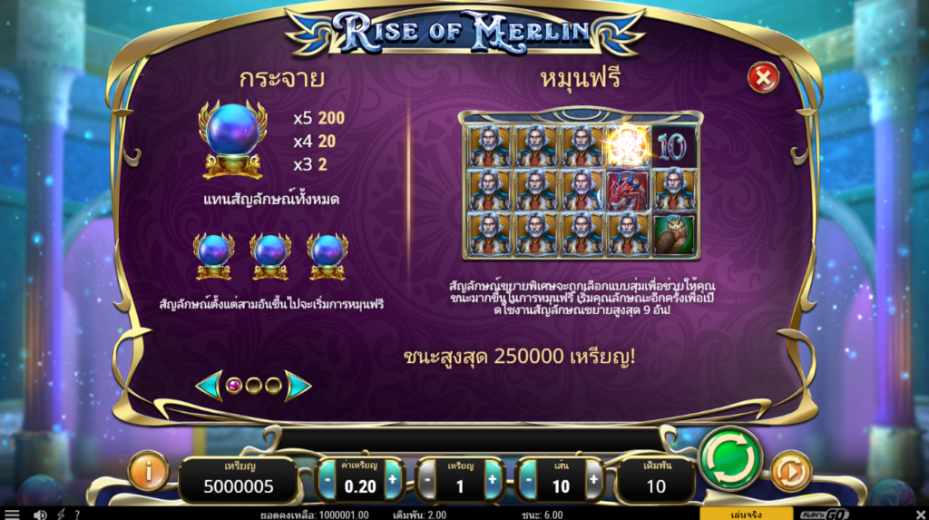 หาเงินใช้ด้วยเกม Rise of Merlin Slot
